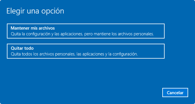 Restaurar Windows 10