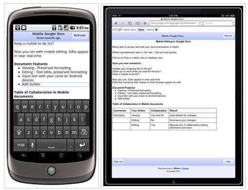 Google anuncia la disponibilidad de la edición móvil de Google Docs