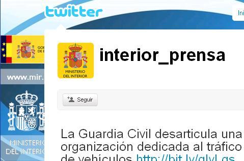 El Ministerio del Interior ya publica a través de Twitter