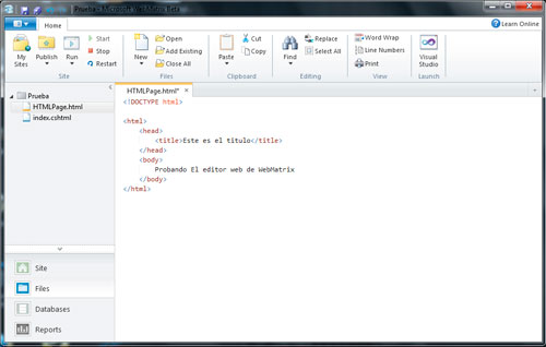 Editor HTML WebMatrix