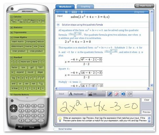 Calculadora gráfica gratuita: Microsoft Mathematics 4.0