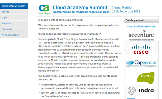 "CA Technologies organiza hoy su conferencia ""Cloud Academy Summit"""