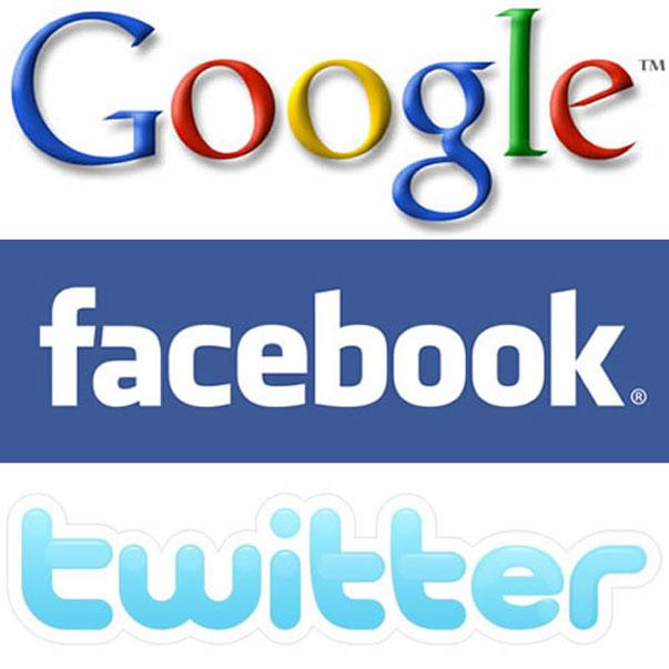 Google Facebook y Twitter