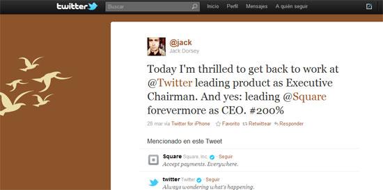 Jack Dorsey vuelve a Twitter como presidente ejecutivo