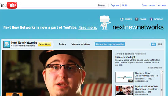 YouTube compra la startup de vídeo on-line Next New Networks