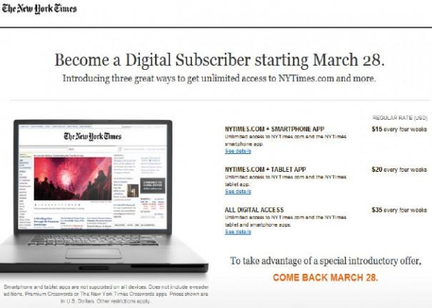 The New York Times cobrará por acceder a su portal on-line