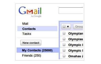 Gmail eleva el número de contactos hasta 25.000