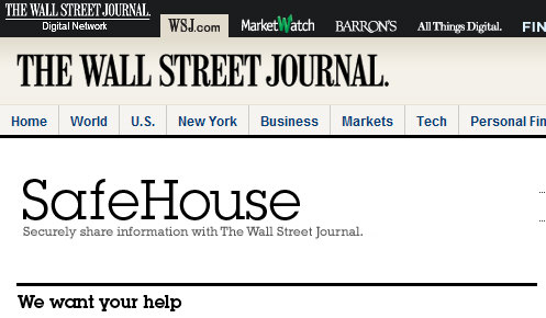 Wall Street Journal lanza su propio Wikileaks: SafeHouse
