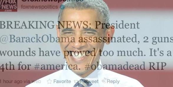 Asesinan a Obama en el canal de la Fox en Twitter