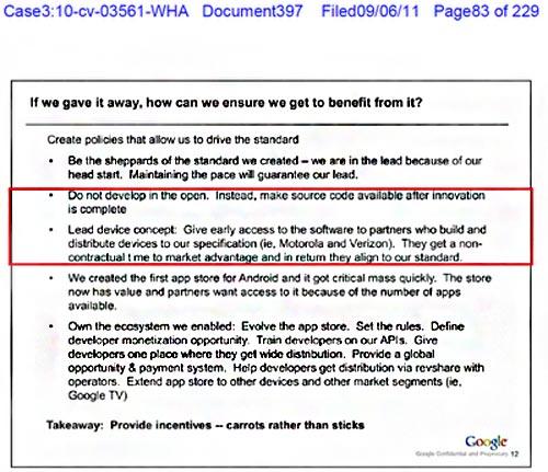 Unos documentos revelan que Google favoreció a Motorola y Verizon
