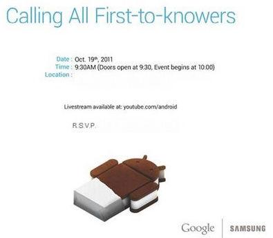 Android 4.0 y el Nexus Prime el 19 de octubre