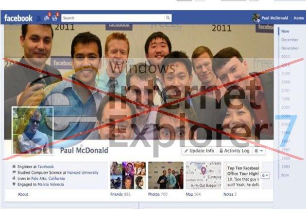 Facebook comienza a retirarle el soporte a Internet Explorer 7