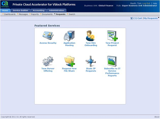 CA Private Cloud Accelerator para plataformas Vblock