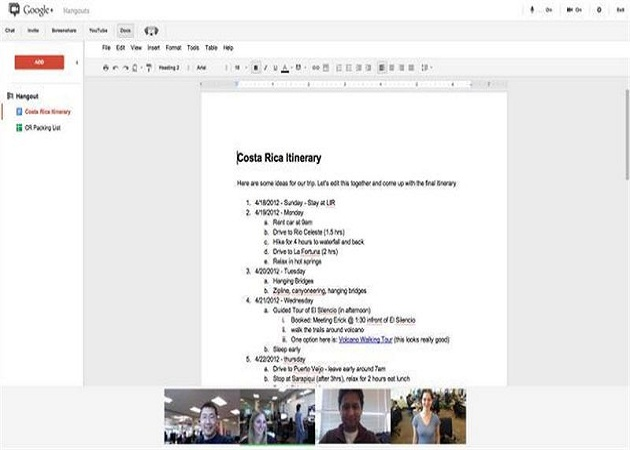 Google+ permite usar Google Docs en los hangouts