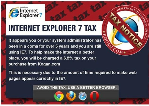 Un retailer australiano impone una tasa a Internet Explorer 7