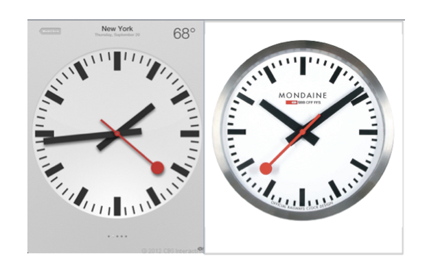 Apple plagia el diseño de un reloj suizo en iOS 6