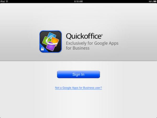 QuickOffice, gratis en exclusiva para los usuarios de Google Apps en iPad
