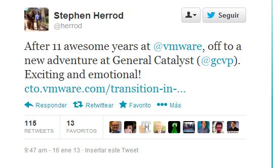 El CTO de VMware deja la empresa y se une a un nuevo proyecto
