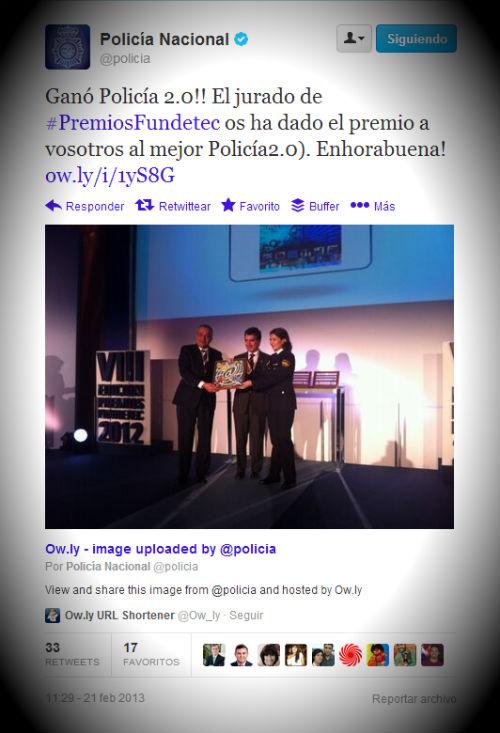 La Dirección General de la Policía gana los Premios Fundetec 2012