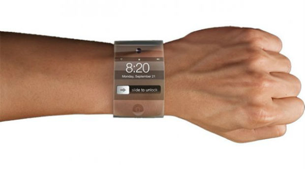 reloj con pantalla de cristal curvado de apple