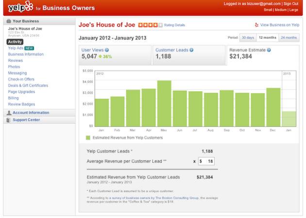 Yelp presenta una herramienta de estimación de ingresos para empresas