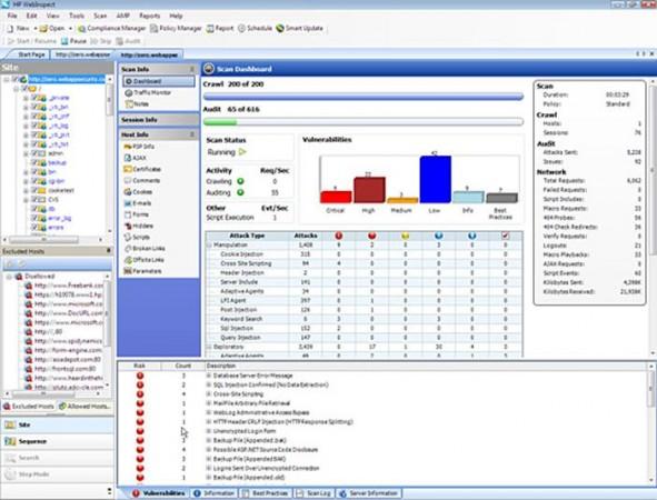 HP WebInspect replica y automatiza ataques del mundo real para asegurar las aplicaciones