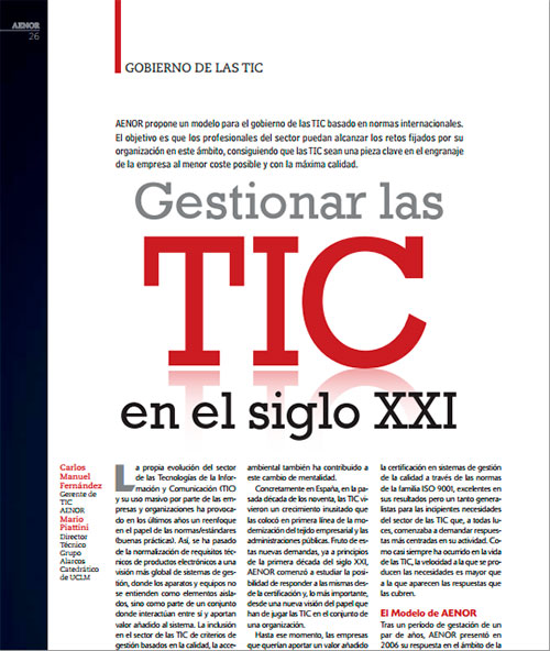 """AENOR recomienda su libro """"Modelo para el gobierno de las TIC basado en las normas ISO"""""""