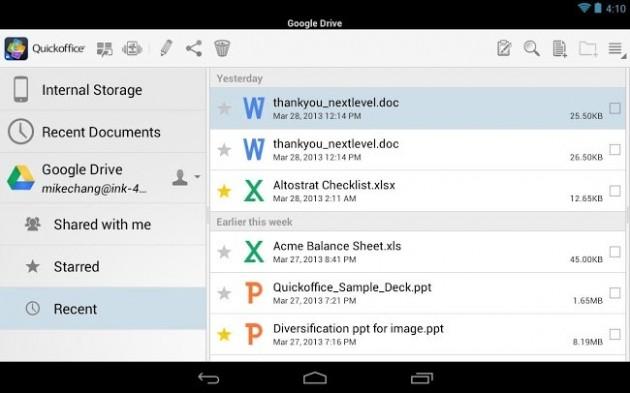 Google presenta una nueva versión de Quickoffice para iOS y Android
