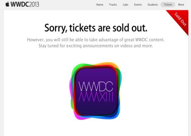 Las entradas para el WWDC 2013 de Apple se agotan en un par de minutos