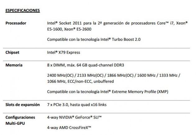 especificaciones placa base P9X79-E WS