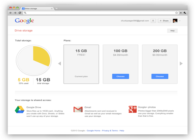 Google ofrecerá 15 GB a repartir por sus diferentes herramientas