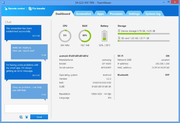TeamViewer QuickSupport ofrece soporte remoto a dispositivos móviles