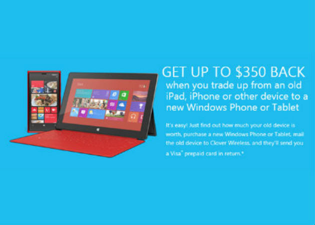 Microsoft ofrece 350 dólares por cada iPad usado