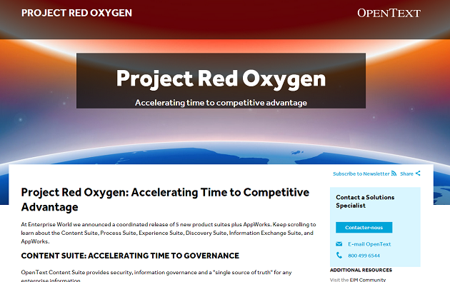 El proyecto Red Oxygen de OpenText redefine su oferta de software EIM