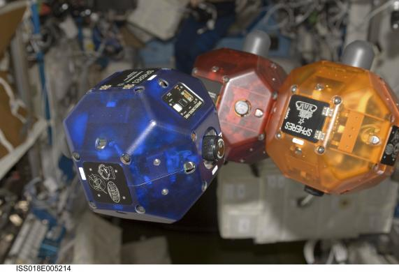 Handout photo of SPHERES floating in zero-gravity in the Destiny laboratory of the International Space Station