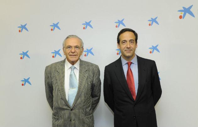 El presidente de CaixaBank Isidro Fainé y el consejero delegado Gonzalo Gortazár