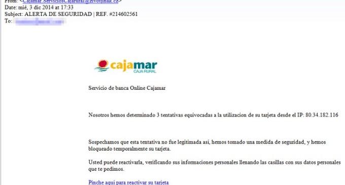 Los hackers utilizan la imagen de Cajamar para robar datos de clientes