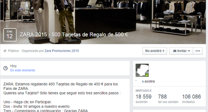 """Nuevo engaño en Facebook: """"ZARA sortea 430 Tarjetas de Regalo"""""""