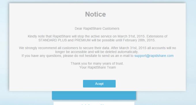 La alemana Rapidshare echará el cierre el 31 de marzo