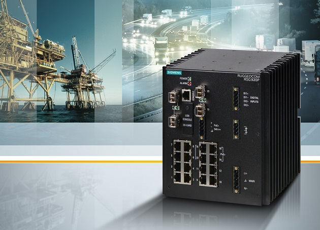 Siemens erweitert sein Portfolio robuster Netzwerkkomponenten um den Ruggedcom RSG920P: Der kompakte Ethernet Switch verfügt über zahlreiche Ports, ist für raue Umgebungen mit unterschiedlichsten Klima- und Umweltbedingungen konzipiert und hält selbst extremen Temperaturen, Vibrationen und Erschütterungen stand. Siemens has expanded its portfolio of rugged network components with the Ruggedcom RSG920P - a high port density Ethernet switch designed to operate in harsh environments with widely varying climatic and environmental conditions. Withstanding extreme temperature, vibration and shock the device offers high reliability for industrial applications such as transportation systems and oil and gas applications.