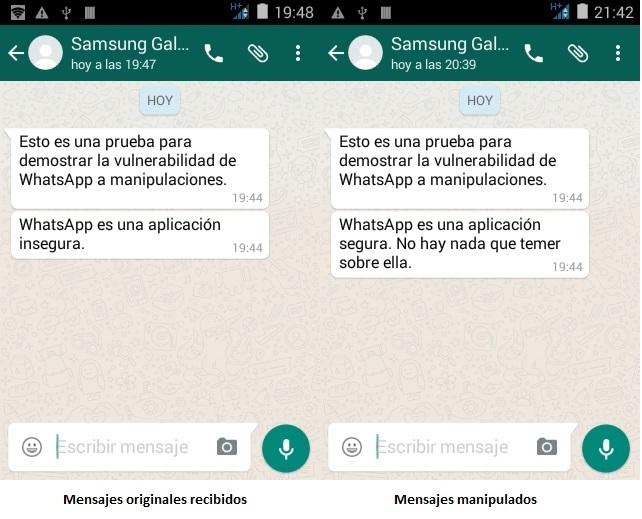 Demostración manipulación Whatsapp
