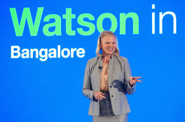 "On Tuesday, February 2, 2016, IBM's Chairman and CEO Ginni Rometty spoke to more than 250 startups, enterprise clients and academics in Bangalore, India, about how Watson and cognitive computing are driving growth in the new era of ""cognitive business."" (Feature Photo Service)"