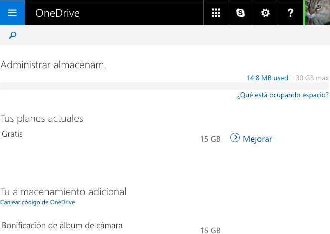 Espacio OneDrive