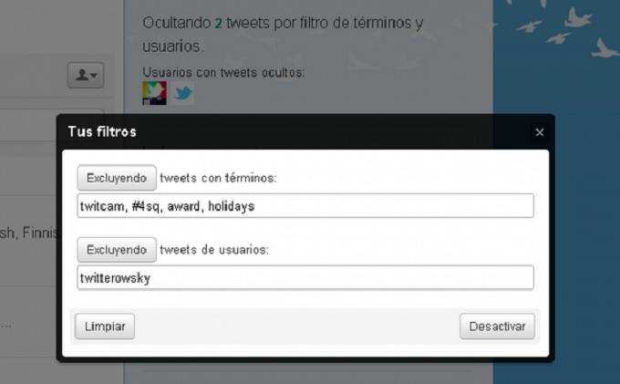filtrar contenidos de Twitter