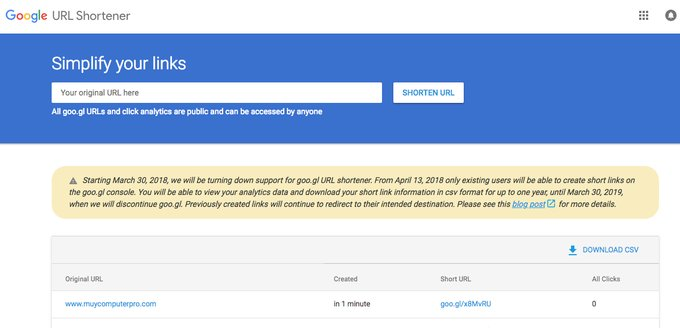Google confirma el cierre de goo.gl, su servicio de acortado de URLs