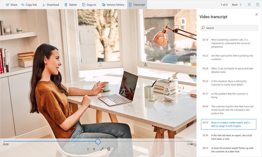 Microsoft dará transcripción automática a archivos de audio y vídeo en OneDrive y SharePoint