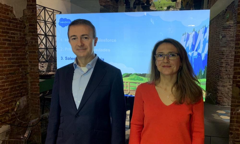 Enrique Polo de Lara, country leader de Salesforce Iberia, y Ana Vertedor, directora de alianzas y canal de Salesforce Iberia