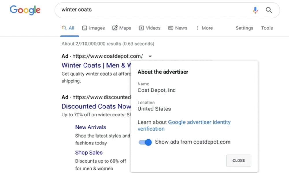 Google obligará a los anunciantes online en su red a identificarse y dar su ubicación