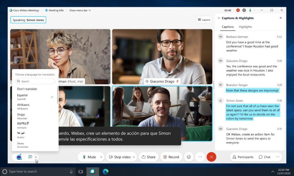 Cisco Webex rompe las barreras lingüísticas con traducciones en tiempo real